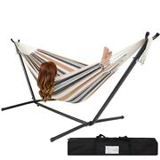 Portable Cotton Hammock In Desert Stripe With Metal Stand And Carry Case