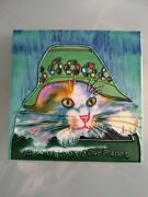 Handcrafted Pottery 3d Tile Cat In Hat Trivet Wall Hanging 6 In Vtg
