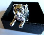 Fine Solid Sterling Silver Playing Pug Puppy Dog Miniature Statue Figure Curio