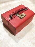 Victorian Antique English Red Leather Jewelry Travel Box Case