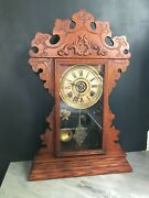 Antique Grandmothers Wood Shelf Mantel Clock Welch With Bell Alarm