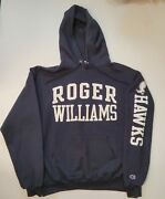 Roger Williams University Hawks Champion Pullover Double Sided Blue Hoodie Sz M