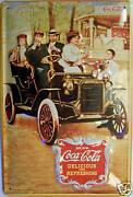 Coca Cola Antique Car Tin Sign Shield 3d Embossed Arched 7 7/8x11 13/16in