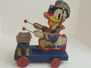 1938 Donald Duck Xylophone Wood Pull Toy Fisher Price 185 Vintage Original Flaws