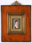 Young Lady With Transparent Head Scarf Fine French Miniature 1798/1800