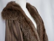 Brioni For Lady Women's Open Front Leather Overcoat Size Small Fur Trim Flowing