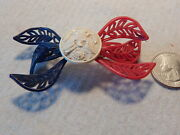 Vtg 1940s Wwii Sweetheart Pin Brooch Red White Blue Eagle Plastic Bow Tie Shape