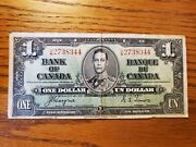 Bank Of Canada 1937 One Dollar Bill Wide Portrait Coynes/towers Ef