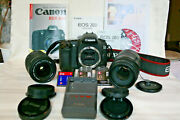 Canon Eos 20d Dslr Camera 2 Lenses 3 Batteries 3 2gb Cards Charger Manuals