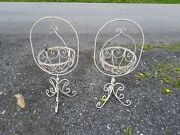 Pair Of Vintage Wrought Iron Plant Stands Plant Hanger Shabby Chic