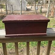 Early Antique Primitive Wooden Red Painted Document Box