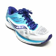 Women's Saucony Ride 10 Running Shoes Sneakers Size 7 W Wide White Blue Athletic