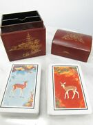 Kem Art Deco Playing Cards With Jokers Double Deck Deer Fawn In Japanese Box
