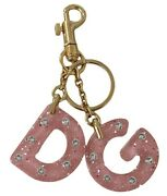 Dolce And Gabbana Keychain Pink Dg Logo Clear Crystal Gold Brass Keyring Rrp 380