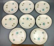 Set Of 8 Mid-century Franciscan Starburst 6.5 Bread Plates, Some W Edge Chips
