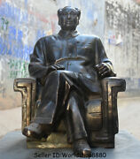 24 Antique Old Chinese Bronze Mao Zedong Chairmanmao Leader Seat Chair Statue