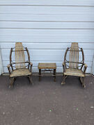 Vintage Adirondack Twig And Oak Rocking Chairs And Table Set