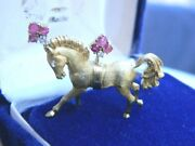 Rare Estate Mid-century Antique 18k Yellow Gold Diamond And Ruby Horse Brooch Pin