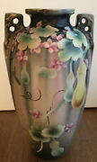 Antique Vase Hand Painted Two Handle Urn Japan Floral Cherry Blossom 11 3/4 Andldquo