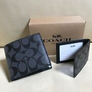 New Coach Menand039s Compact Id Charcoal Black Wallet F74993 With Box