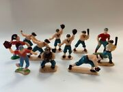 Vtg 1950s Plastic Baseball Players Figures Cake Toppers Decorations  B7