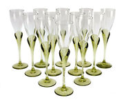 12 Rosenthal Studio Line Glass Cordial Wine Goblets In Papyrus Green, Signed