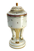 Imperial Royal Vienna Porcelain Reticulated Footed Urn Floral And Gilt. 1794
