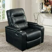 Home Theater Recliner Chair Armchair Seat Black Faux Leather Padded Usb Cuphold