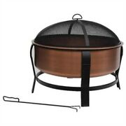 Rustic Copper Fire Pit Tub With Screen Cover