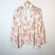 Magnolia South   Boho Bell Sleeve Floral Pink White Bell Sleeve Blouse Sz S