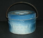 Beautiful Blue And White Stoneware Cow And Fence Butter Crock W/lid