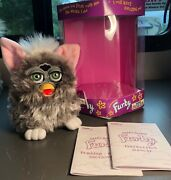 Vintage 1999 Owl Furby Gray White Green Eyes Generation Two Works Very Nice Box