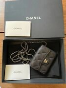 Classic Card Holder On Chain Quited Caviar Mini