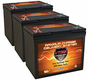 Qty3 Vmax Mr107-85 Agm Deep Cycle Group 24 Batteries For 36v Trolling Motor