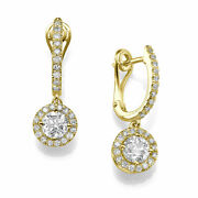Round Cut 2.00 Ct D/vs1 Solitaire Diamond Stud Earrings 18k Yellow Gold