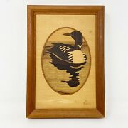 Vintage Jeff Nelson Wood Inlay Marquetry Loon Water Fowl Hanging Signed Art