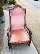 Antique 19th Century Carved Swan Arms Pink Upholstered Rocking Chair
