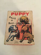 Vintage Peek A Boo Puppy Dog In The Basket Boxed Windup Toy Alps Japan And Box