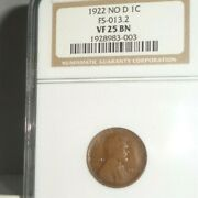 1922 No D Us 1c Lincoln Cent Coin Ngc Vf 25 Bn Fs-013.2 Very Fine Brown Denver