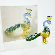 Blown Glass Peacock 3 Figurine W/ Lined Gift Box Colorful Blue And Green Bird New