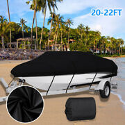 20-22and039 Heavy Duty Waterproof Trailerable Boat Cover Uv Fit V-hull Fishing