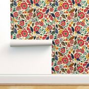 Removable Water-activated Wallpaper Jumbo Botanical Brown Yellow Flowers Floral
