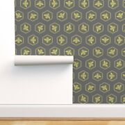 Removable Water-activated Wallpaper Bee Hive Hives Yellow Modern Nursery Bumble