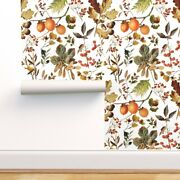 Removable Water-activated Wallpaper Fall Vintage Florals Thanksgiving Decor