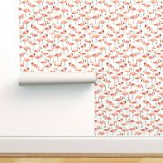 Removable Water-activated Wallpaper Pink Watercolor Flamingo Birds White