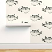 Removable Water-activated Wallpaper Blowfish Black Nautical Decor Blow Fish