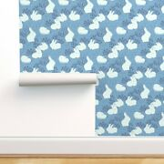 Removable Water-activated Wallpaper Arctic Bunnies Animals Blue And White Cute