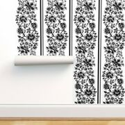 Removable Water-activated Wallpaper Black And White Black Jacobean Floral Stripe
