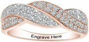 Simulated Diamond Engraved Wedding Band Ring 14k Rose Gold Over Sterling Silver