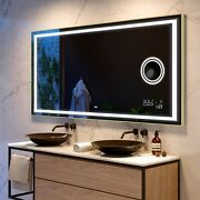 Led Illuminated Bathroom Mirror With Back Cover   Bluetooth   Make-up   15 Brown